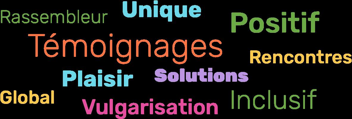 Rassembleur, Unique, Positif, Témoignages, Plaisir, Global, Solutions, Rencontres, Vulgarisation, Inclusif